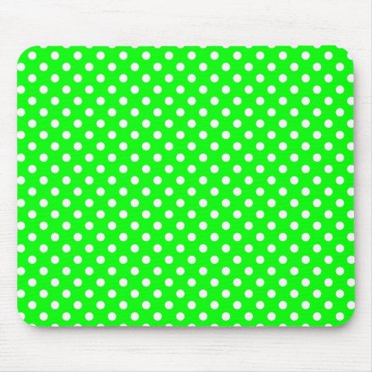 neongrün weiße Punkte Mousepad