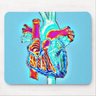 Neonhand gezeichnetes anatomisches Herz Mauspad