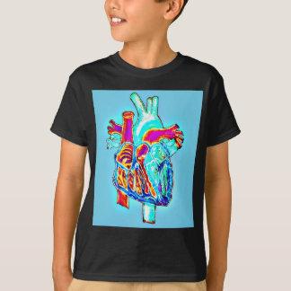 Neonhand gezeichnetes anatomisches Herz T-Shirt