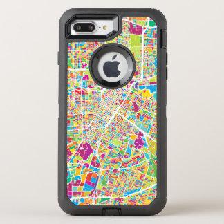 Neonkarte Houstons, Texas | OtterBox Defender iPhone 8 Plus/7 Plus Hülle
