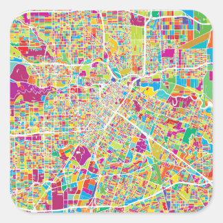 Neonkarte Houstons, Texas   Quadratischer Aufkleber
