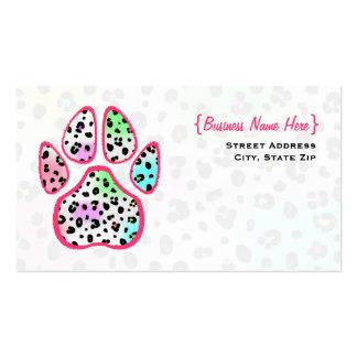 Neonleopard-Druck-Tatzen-Druck-Visitenkarte Visitenkarten