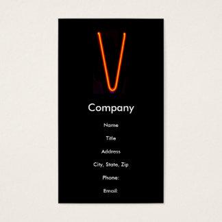 """Neonlicht-Monogramm des Buchstabe-""""V"""" Visitenkarte"""