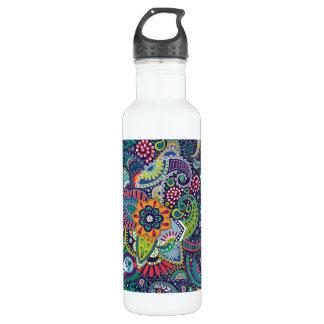 Neonmehrfarbenblumenpaisley-Muster Trinkflasche