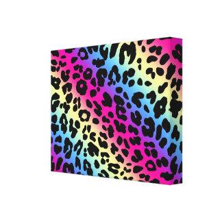 Neonregenbogen-Leopard-Muster-Druck Gespannter Galeriedruck