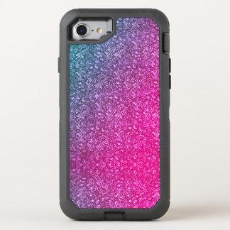 Neonrosa-gedämpftes blaues helles mit Blumenbuntes OtterBox Defender iPhone 8/7 Hülle