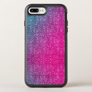 Neonrosa-gedämpftes blaues helles mit Blumenbuntes OtterBox Symmetry iPhone 8 Plus/7 Plus Hülle