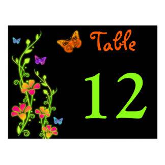 Neonschmetterlinge u Blumen-Tischnummer-Postkarte