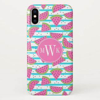 Neonwassermelone auf Streifen-Muster iPhone X Hülle