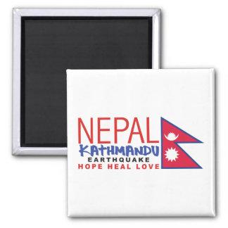 Nepal-Erdbeben-Überlebend-Unterstützung Quadratischer Magnet