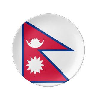 Nepal-Flagge Porzellanteller