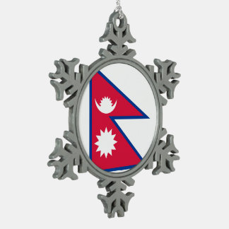 Nepal-Flagge Schneeflocken Zinn-Ornament