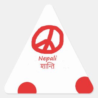 Nepali-Sprache und Friedenssymbol-Entwurf Dreieckiger Aufkleber
