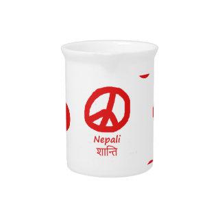 Nepali-Sprache und Friedenssymbol-Entwurf Getränke Pitcher