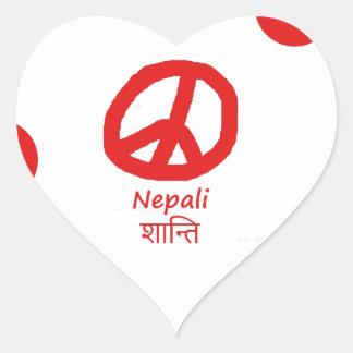 Nepali-Sprache und Friedenssymbol-Entwurf Herz-Aufkleber