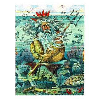 Neptun, der unter versunkenen Wracken sitzt Postkarte