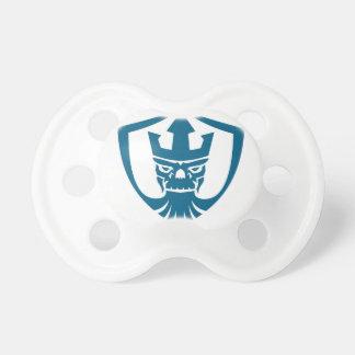 Neptun-Schädeltrident-Kronen-Wappen-Ikone Schnuller
