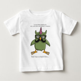 nerd hipster owl with mustache baby t-shirt