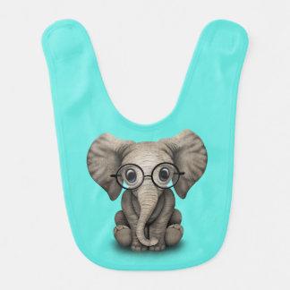 Nerdy Baby-Elefant-tragende Gläser Lätzchen