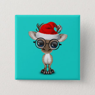 Nerdy Baby-Ren, das eine Weihnachtsmannmütze trägt Quadratischer Button 5,1 Cm
