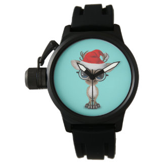 Nerdy Baby-Ren, das eine Weihnachtsmannmütze trägt Uhr