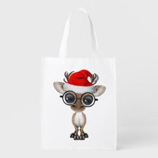 Nerdy Baby-Ren, das eine Weihnachtsmannmütze trägt Wiederverwendbare Einkaufstasche