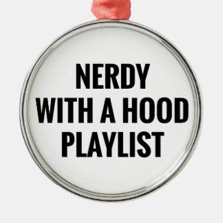 Nerdy Hauben-Titelliste Silbernes Ornament