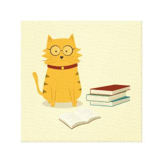 Nerdy Katze Leinwanddruck