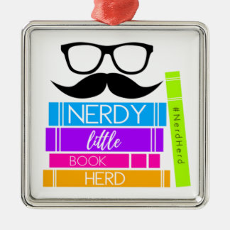 Nerdy kleine Buch-Herde Silbernes Ornament