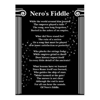 Neros Geigen-Gedicht-Weiß auf Schwarzem Postkarte