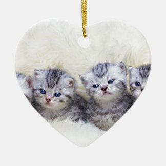 Nest mit vier jungen Tabbykatzen in Folge Keramik Ornament