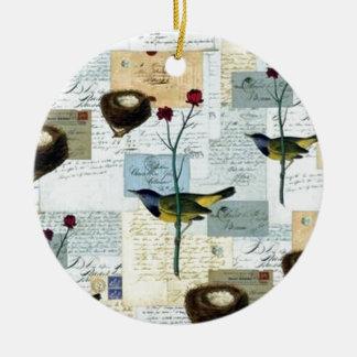 Nester und Vögelchen Keramik Ornament