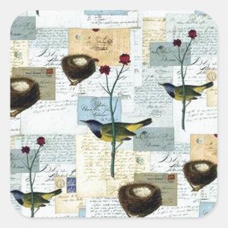 Nester und Vögelchen - quadratischer Aufkleber