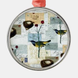 Nester und Vögelchen Silbernes Ornament
