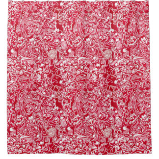 Nestled Kiesel-roter Tinten-Gekritzel-Duschvorhang Duschvorhang