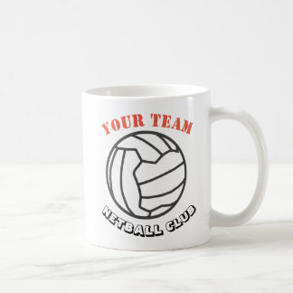 Netball-Ball-Themed Team-Name personalisiert Kaffeetasse