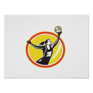 Netball-Spieler-anziehender Ball Retro Plakatdruck