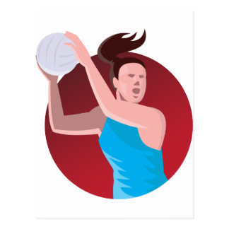 Netballspieler, der den Ball Retro führt Postkarten
