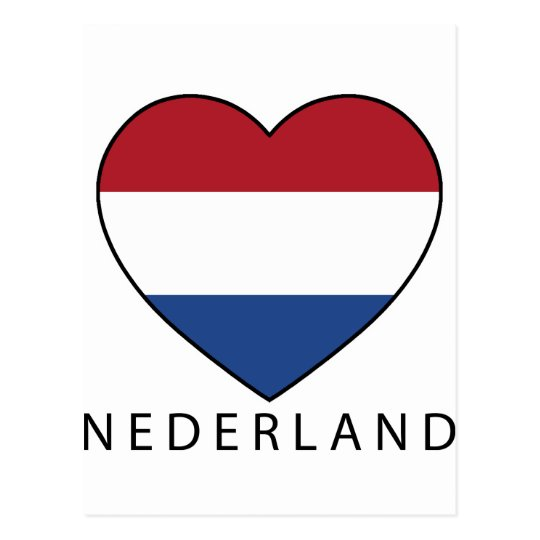 Netherland Heart with black NEDERLAND Postkarte
