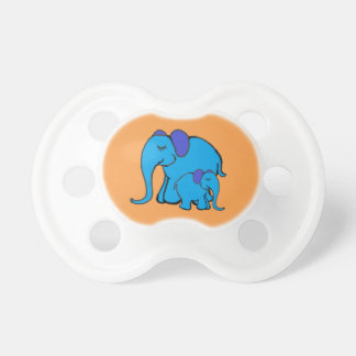 Nette blaue Elefant-Mamma mit Baby-Elefanten Schnuller