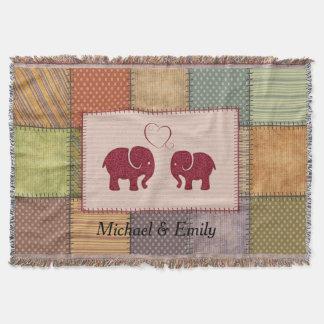 Nette niedliche Elefanten im Liebepatchwork Decke