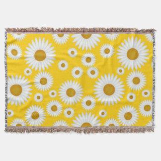 nette sonnige gelbe Wurfsdecke des weißen Decke