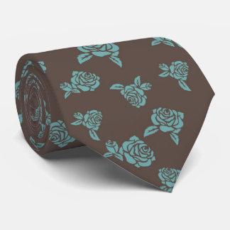 Nette Vintage Türkis-Rosen auf braunem Hintergrund Krawatte