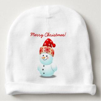 Netter Baby-Schneemann mit Weihnachtshut Babymütze