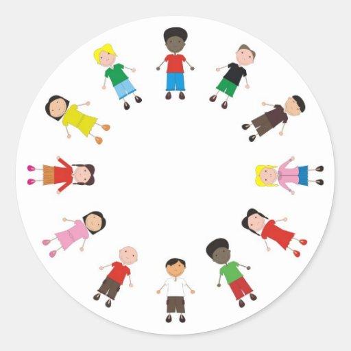Netter/Kinder/Niños Runde Aufkleber