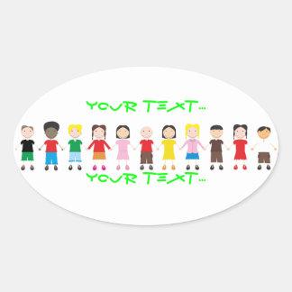 Netter/Kinder/Niños Ovale Aufkleber