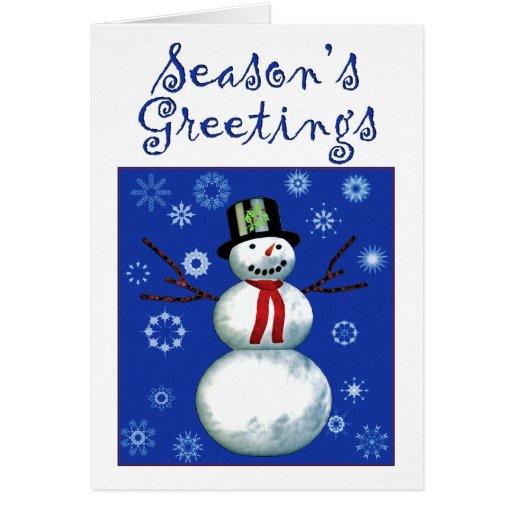 netter Schneemann auf Blau mit Schneeflocken Grußkarte