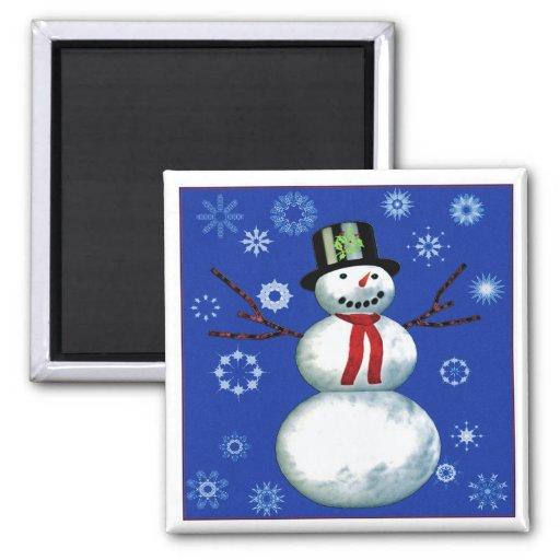 netter Schneemann auf Blau mit Schneeflocken Kühlschrankmagnet