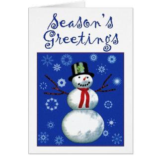 netter Schneemann auf Blau mit Schneeflocken Mitteilungskarte