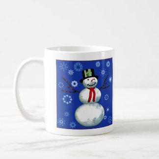 netter Schneemann im Zylinder Kaffeehaferl